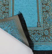 Embroidered Islamic Prayer Mat Gift Box Set with Prayer Beads - Turquoise