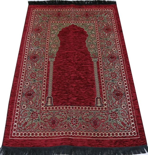 Modefa Prayer Rug Embroidered Islamic Prayer Mat - Red