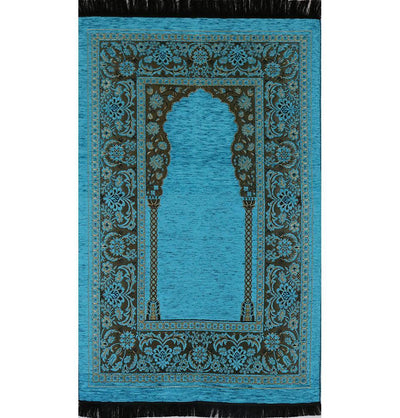 Embroidered Islamic Prayer Mat - Turquoise