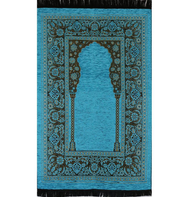Modefa Prayer Rug Embroidered Islamic Prayer Mat - Turquoise