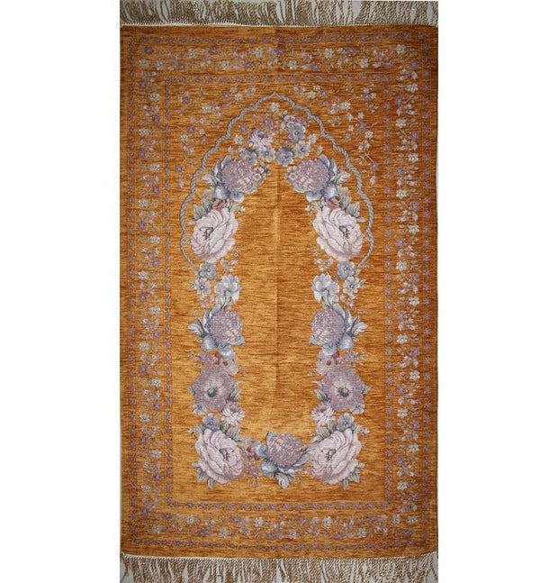 Modefa Prayer Rug Gold Chenille Embroidered Gold Rose Prayer Mat with Storage Bag