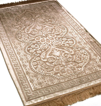 Modefa Prayer Rug Golden Beige Luxury Velvet Islamic Prayer Rug Paisley Golden Beige