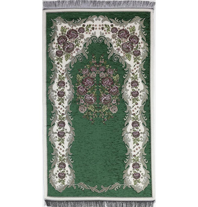 Modefa Prayer Rug Green Chenille Embroidered Floral Rose Islamic Prayer Mat - Green