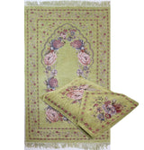 Modefa Prayer Rug Green Chenille Embroidered Green Rose Islamic Prayer Mat with Storage Bag