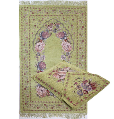 Chenille Embroidered Green Rose Islamic Prayer Mat with Storage Bag