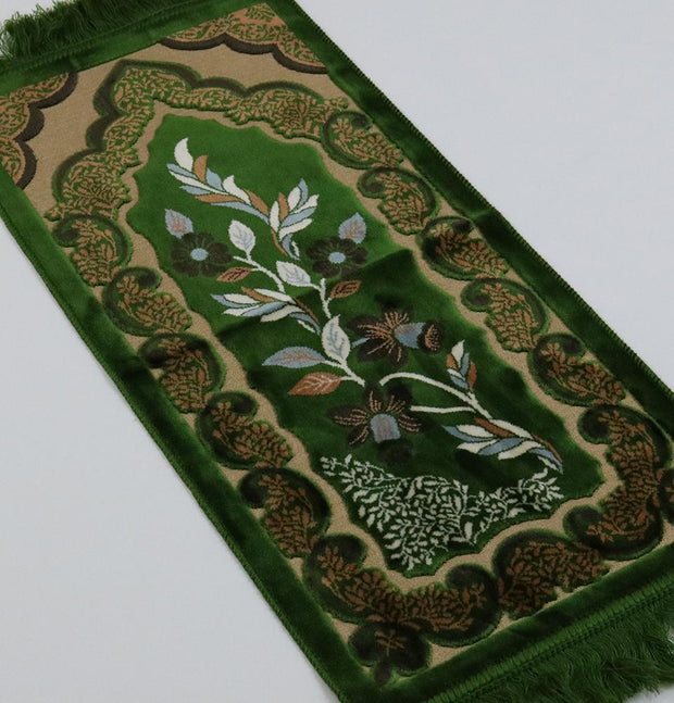 Child Velvet Floral Islamic Prayer Rug - Green