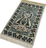 Modefa Prayer Rug Green / Creme Plush Velvet Floral Leaf Prayer Rug Green & Creme