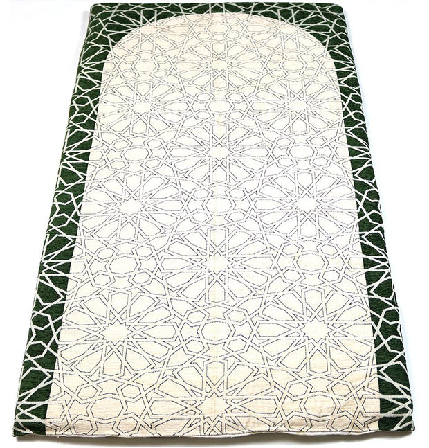 Modefa Prayer Rug Green/Ivory Foldable Orthopedic Foam Islamic Prayer Rug with Carry Case Selcuk Star - Green/Ivory