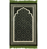 Modefa Prayer Rug Green Lux Plush Velvet Islamic Prayer Rug Elegant Swirl Green