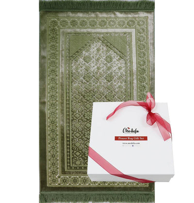 Modefa Prayer Rug Green Luxury Velvet Islamic Prayer Rug Gift Box Set with Prayer Beads - Green