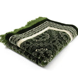 Modefa Prayer Rug Green Plush Velvet Islamic Prayer Rug Elegant Swirl Green