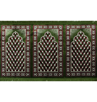 Modefa Prayer Rug Green/Red Wide 3 Person Masjid Islamic Prayer Rug - Geometric Arch Green