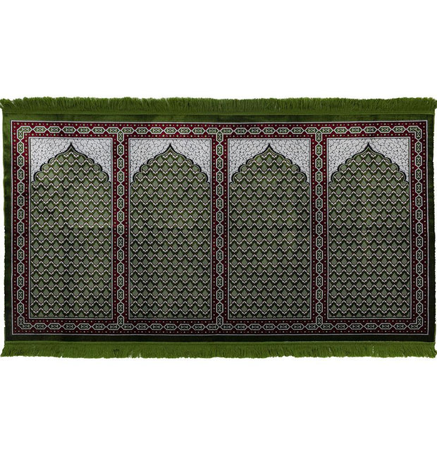 Modefa Prayer Rug Green/Red Wide 4 Person Masjid Islamic Prayer Rug - Red & Green