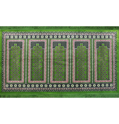 Modefa Prayer Rug Green / Red Wide 5 Person Masjid Islamic Prayer Rug - Geometric Green