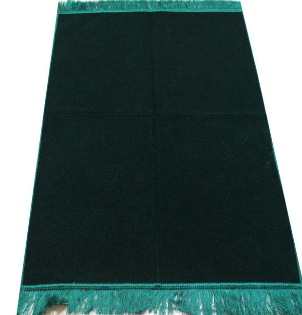 Modefa Prayer Rug Solid Simple Velvet Prayer Rug - Dark Green - Modefa