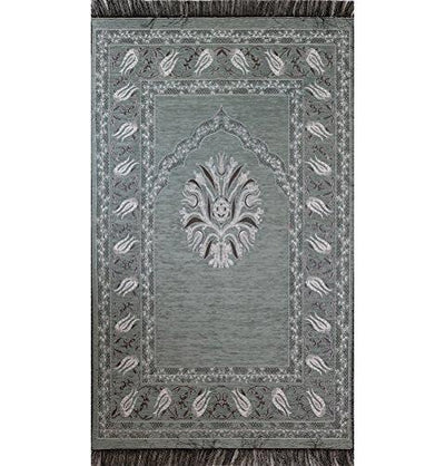 Chenille Tulip Islamic Prayer Mat Grey