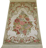 Modefa Prayer Rug Ivory / Beige / Multi Luxury Thin Embroidered Prayer Mat Gift Box Set 'Lavanta' - Ivory Floral Bouquet