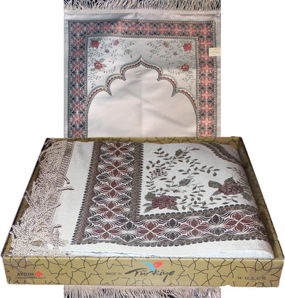Luxury Thin Embroidered Prayer Mat Gift Box Set Simple Rose- Ivory
