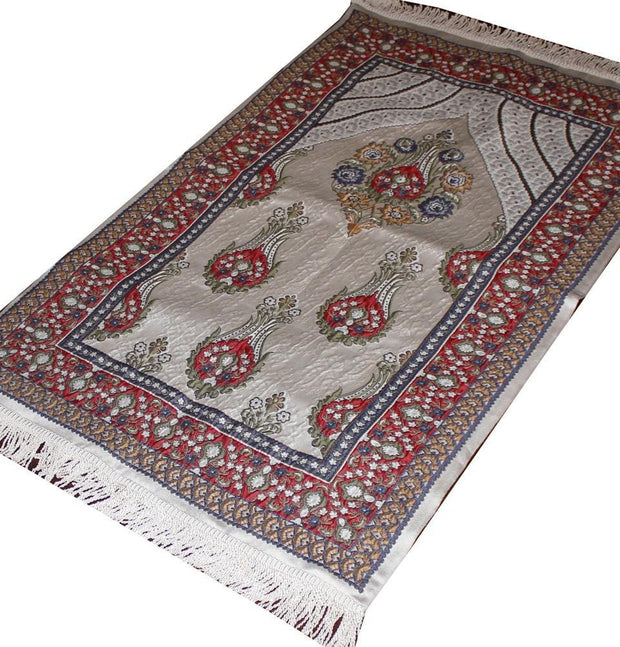 Modefa Prayer Rug Ivory / Red / Multi Large Wide Luxury Thin Embroidered Prayer Mat Gift Box Set 'Jacobean' Tulip- Ivory / Red