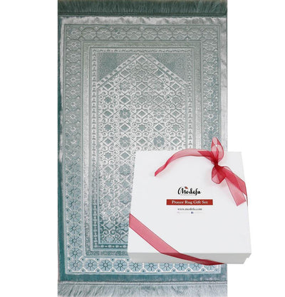 Modefa Prayer Rug Light Blue Luxury Velvet Islamic Prayer Rug Gift Box Set with Prayer Beads - Light Blue