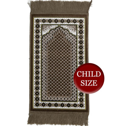 Modefa Prayer Rug Light Brown Child Velvet Islamic Prayer Rug  Vine Border - Light Brown