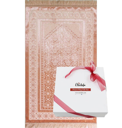 Modefa Prayer Rug Light Pink Luxury Velvet Islamic Prayer Rug Gift Box Set with Prayer Beads - Light Pink