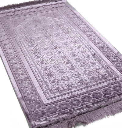Modefa Prayer Rug Lilac Luxury Velvet Islamic Prayer Rug Floral Stamp Lilac