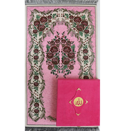Luxury Islamic Quran & Prayer Rug Gift Set 5 Pieces in Velvet Box - Pink