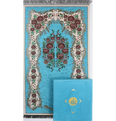 Luxury Islamic Quran & Prayer Rug Gift Set 6 Pieces in Velvet Box - Blue
