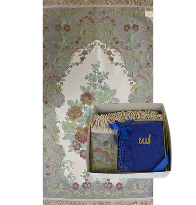Luxury Thin Embroidered Floral Lavanta Prayer Mat Gift Box - Blue