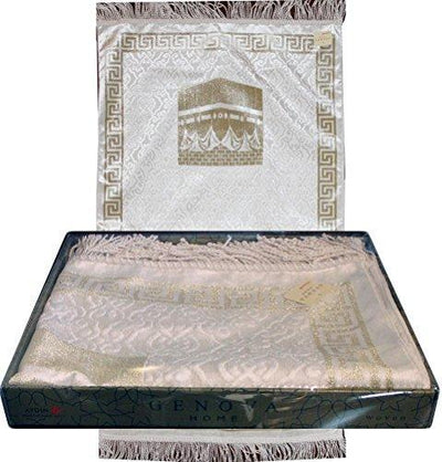 Luxury Thin Velvet Islamic Prayer Mat Gift Box Kaba White with Gold