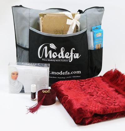 Modefa Prayer Rug Luxury Velvet Islamic Prayer Rug 7 Piece Gift Set with Tote - Red