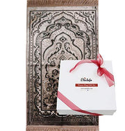 Luxury Velvet Islamic Prayer Rug Gift Box Set with Prayer Beads - Mink