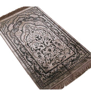 Modefa Prayer Rug Luxury Velvet Islamic Prayer Rug Gift Box Set with Prayer Beads - Mink