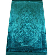Luxury Velvet Islamic Prayer Rug Gift Box Set with Prayer Beads - Turquoise
