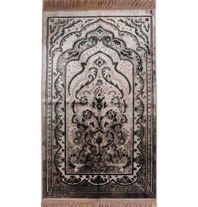 Luxury Velvet Islamic Prayer Rug - Mink