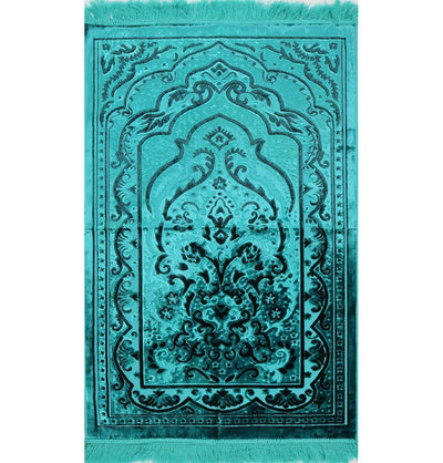 Modefa Prayer Rug Luxury Velvet Islamic Prayer Rug - Turquoise & Black