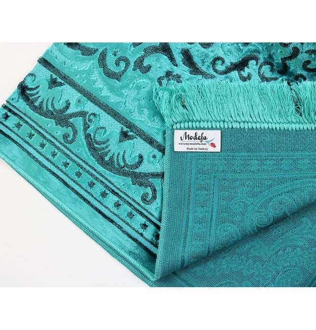 Luxury Velvet Islamic Prayer Rug - Turquoise & Black