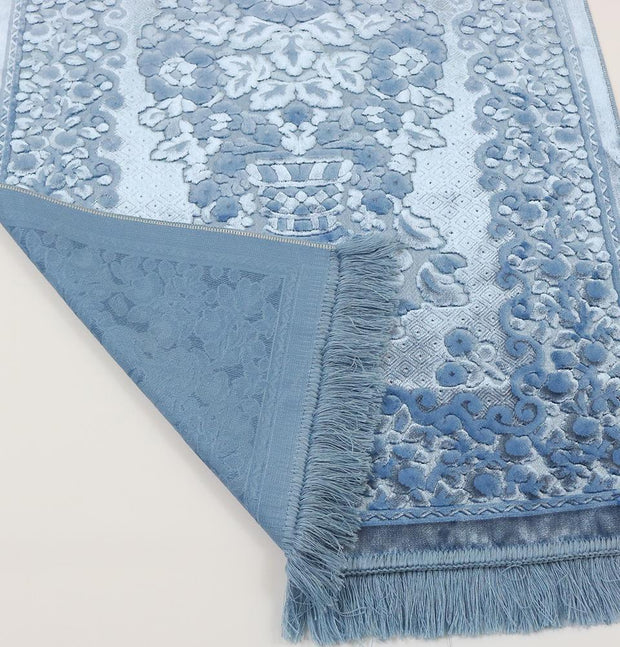 Luxury Velvet Islamic Women's Prayer Rug 7 Piece Gift Set with Tote - Baby Blue
