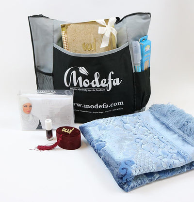 Modefa Prayer Rug Luxury Velvet Islamic Women's Prayer Rug 7 Piece Gift Set with Tote - Baby Blue