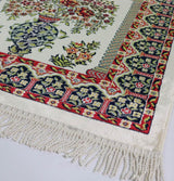 Modefa Prayer Rug Luxury Velvet Kilim Islamic Prayer Rug - Floral Creme