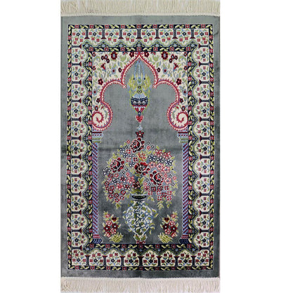 Modefa Prayer Rug Luxury Velvet Kilim Islamic Prayer Rug - Floral Grey