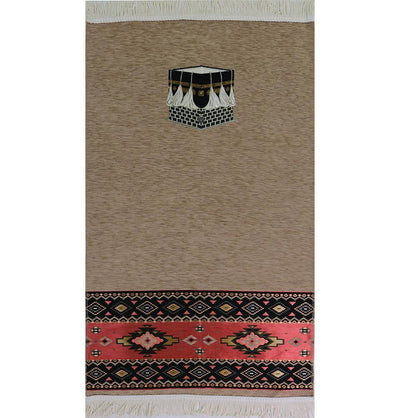 Modefa Prayer Rug Luxury Woven Chenille Islamic Prayer Rug - Kaba Beige