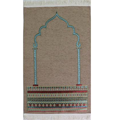 Modefa Prayer Rug Luxury Woven Chenille Islamic Prayer Rug - Tribal Beige