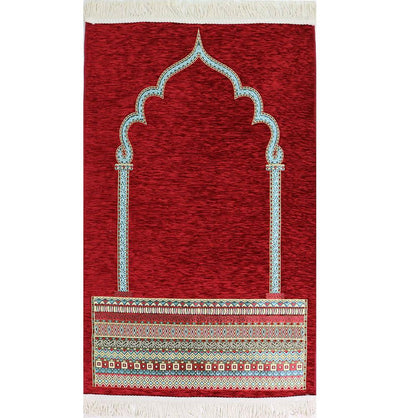 Modefa Prayer Rug Luxury Woven Chenille Islamic Prayer Rug - Tribal Red