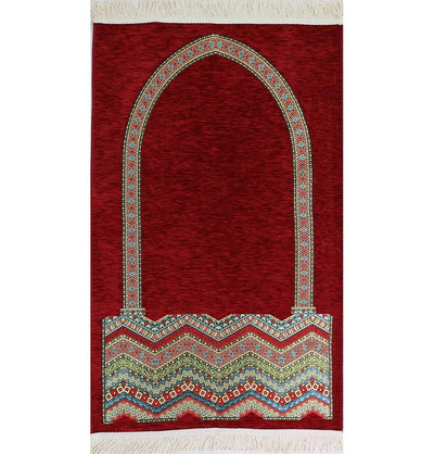 Modefa Prayer Rug Luxury Woven Chenille Islamic Prayer Rug - Tribal Red 2