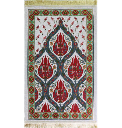 Modefa Prayer Rug Luxury Woven Chenille Islamic Prayer Rug - Turkish Tulip Red