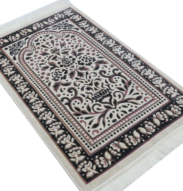 Marmara Velvet Islamic Prayer Rug - Black / Pink