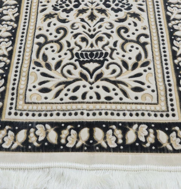 Modefa Prayer Rug Marmara Velvet Islamic Prayer Rug - Black / Yellow