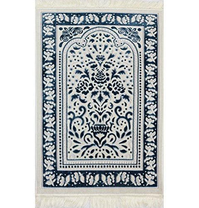Modefa Prayer Rug Marmara Velvet Islamic Prayer Rug - Blue / White